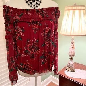 NWT Altar'd State Crimson Smocked Rose Blouse